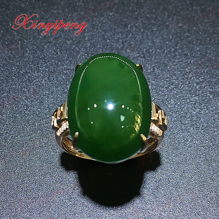 18 k rose gold with 100% natural jade ring Spinach is green Simple and easy Fine jewelry With diamond 18 k rose gold with natural ruby ring female fine jewelry classic contracted the flower shape
