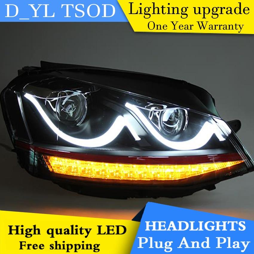 D YL Car Styling for VW Golf 7 Headlights 2014 2016 golf mk7 LED Headlight DRL