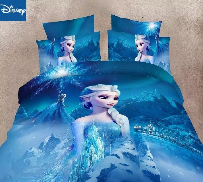 Frozen Elsa Bedding Sets Single Size Disney Princess Duvet Cover Sweet Girl Kids Bed Linens 3d Cartoon Home Decoration Hot Sale