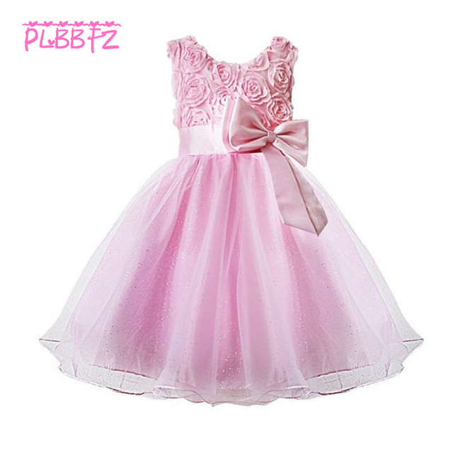 Retail European root yarn Flowers Pattern Elegant Girls Party Dress Lace  Tiered Ruched Girls Prom Dress With Big Bow 5031 443521842dab