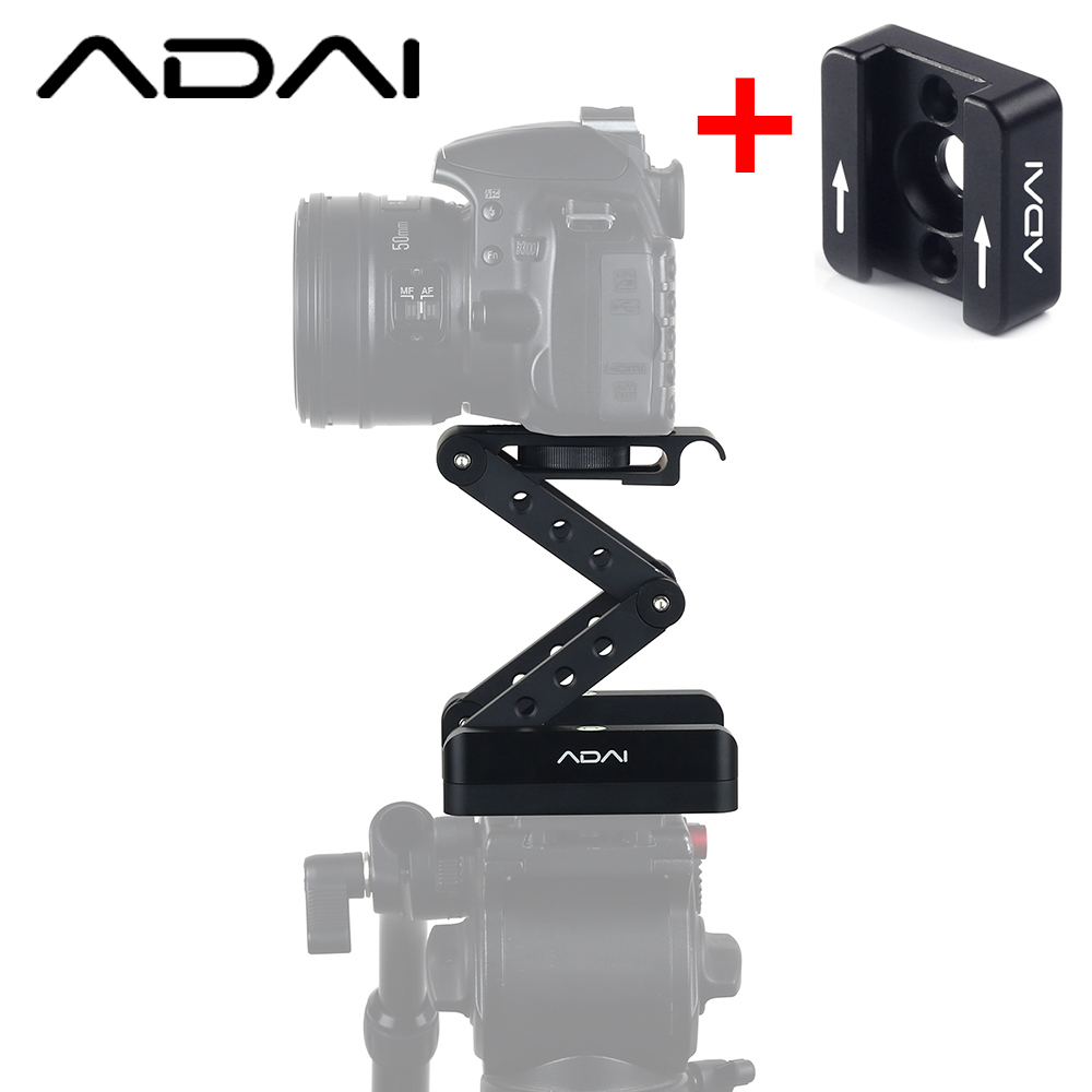 ADAI Z Shaped Flex Tilt Tripod Head Folding Z Tilt Head 360 Rotary Quick Release Plate