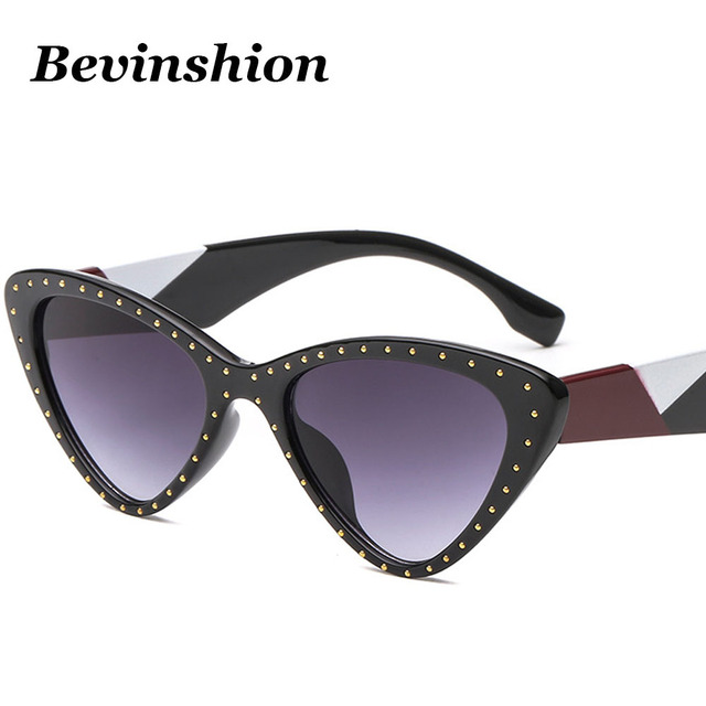 1f1c18d3817b New Luxury Sexy Cat Eye Sunglasses Women Gold Rivet Decoration Sun Glasses  Female Vintage Triangle Glasses Clear Colorful Legs