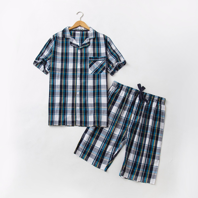 08d2eb3220 Pure Cotton Summer Woven Shorts Short Sleeved Pyjamas Home Suit Pajamas  Simple Casual