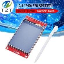 "2.4 ""240x320 SPI TFT LCD seri Port modülü + 5V/3.3V PBC adaptörü mikro SD ILI9341 beyaz LED ile dokunmatik/dokunmatik Arduino için"