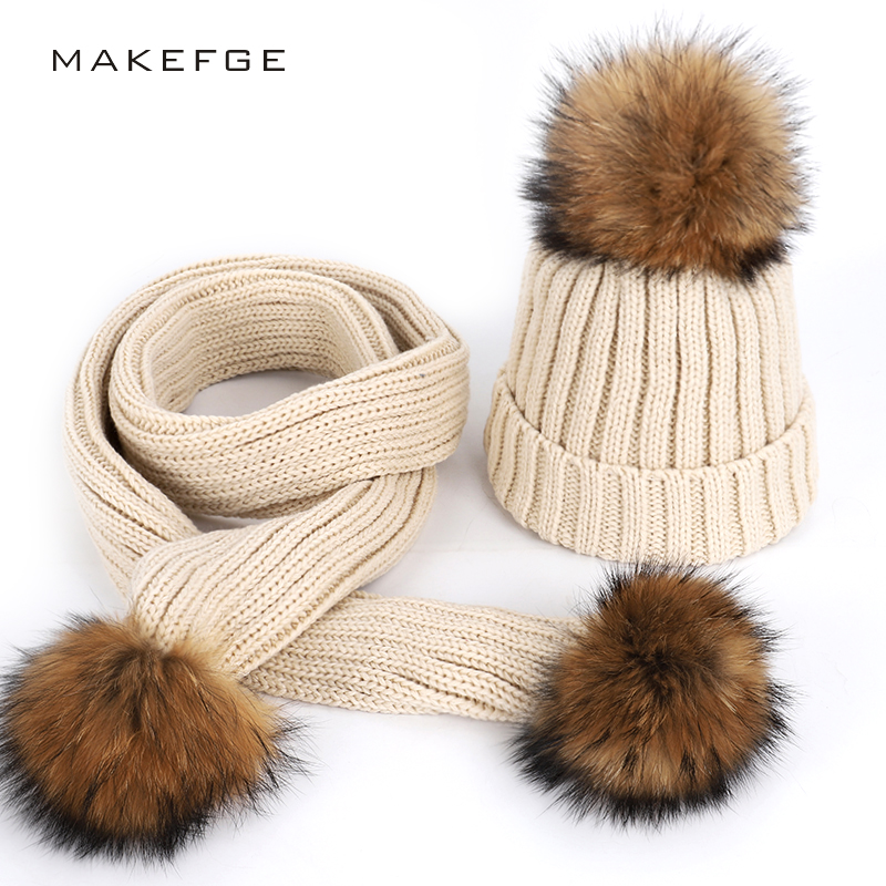 Parent-child cotton caps scarf two-piece warm and comfortable thick ski hats natural raccoon fur pom-poms   Skullies     Beanies   bone