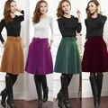 Color sólido de las mujeres vintage una línea de falda plisada con cinturón