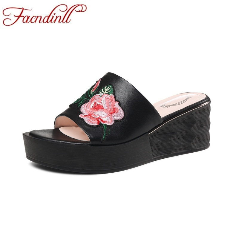 FACNDINLL shoes woman slippers 2018 fashion wedges sandals genuine leather platform sandals ladies casual date sandy beach facndinll new women summer sandals 2018 ladies summer wedges high heel fashion casual leather sandals platform date party shoes