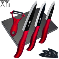 XYj High Grade Ceramic Knife Set Paring Utility Slicing Cooking Tools Peeler Black Blade Red Handle