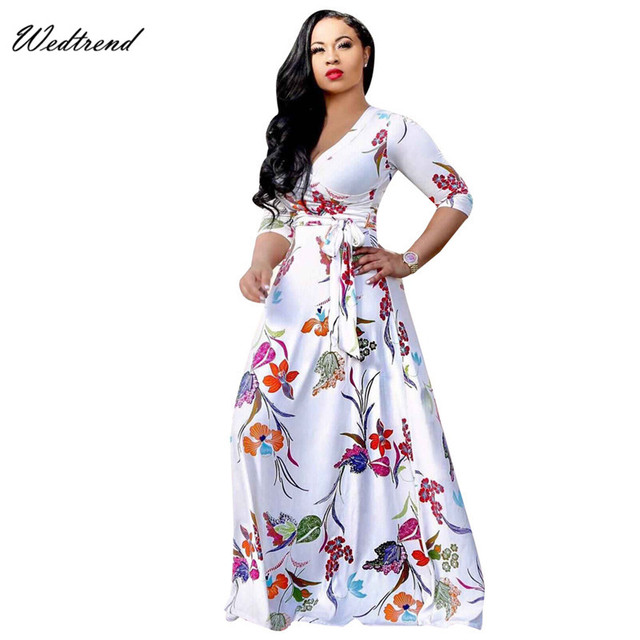 Wedtrend V Neck Long Print Beach Dresses With Three Quarter Sleeves