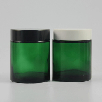 20pcs wholesale 100g green glass cream jar with black or white plastic lid, 100 grams cosmetic jar, 100ml mask cream container