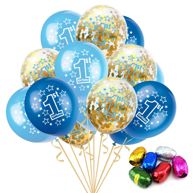 12Inch 15PCS Confetti Balloon Set First Birthday Party 1st Decorations Latex Balloons Baby Shower Balon