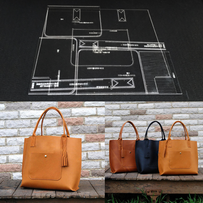 Handmamde Handbag Acrylic Template Leather Pattern DIY Hobby Leathercraft Sewing Pattern Stencils 40x30x10cm