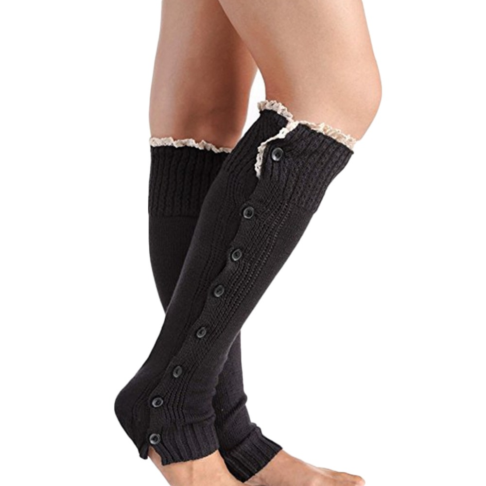 Elegant autumn winter women high leg warmers lace button trimming warm boot socks cuff stretch knitted femme long socks topper