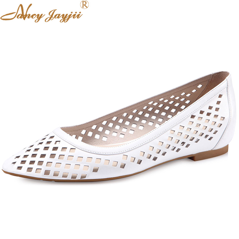 New Summer Fashion Cool Hole Ballet Shoes Women Pointed Toe Breathable Flats Casual White Leather Shoes Big Size 45 Nancyjayjii
