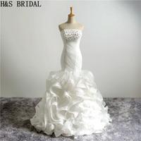 H&S BRIDAL Mermaid Ruffles wedding dress Strapless Tiered bridal dress organza wedding dress 2019 vestido de novia