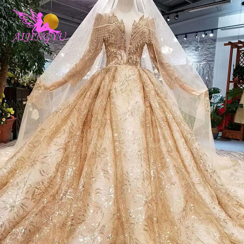 Image 2 - AIJINGYU Hand Wedding Indian Gown Lace With Long Train Crystal Boutiques Sexy Sale Plus Size Gown 2018 Bridal Party DressesWedding Dresses   -
