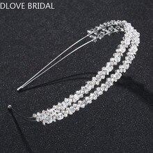цена на Princess Double Row Clear Crystal Bridal Hairband Wedding Party Hair Jewelry Accessory High Quality