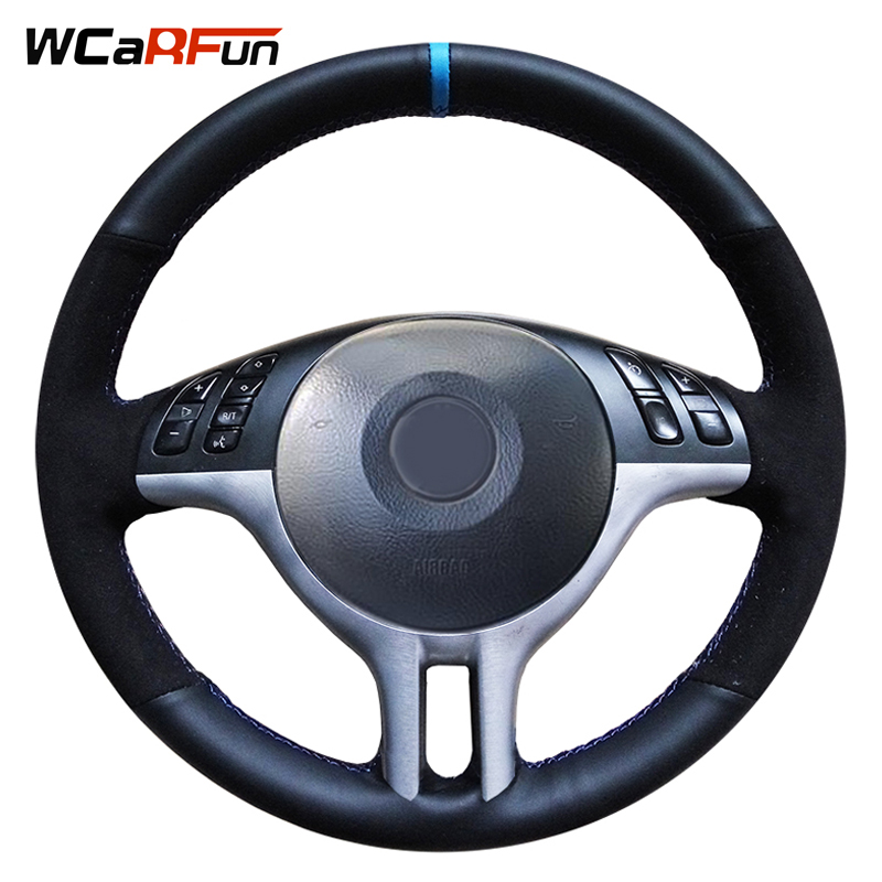 WCaRFun Hand-Stitched Genuine Leather Black Suede Blue Marker Car Steering Wheel Cover For BMW E46 325i E39 E53 X5