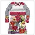 Vestido de la muchacha catimini 2014 primavera otoño niño de manga larga vestido de tirantes