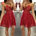 Sexy Spaghetti Straps Homecoming Dresses 2017 Red lace vestidos de Festa A Line Nude Underline Short Dresses Formal Party Gowns