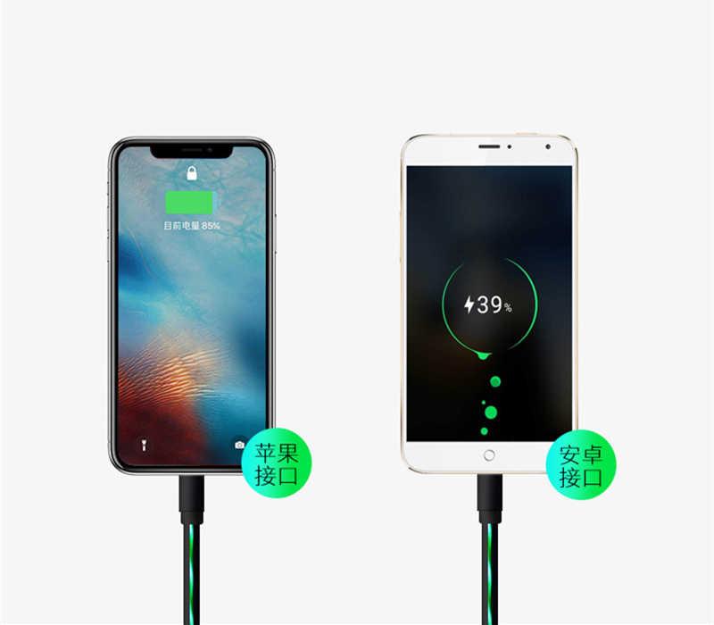 Fluindo luz led brilhante carregamento cabo de dados usb para iphone 8 7 plus x ipad micro cabo usb 1 m 2.4a carregador de carga rápida cabo 4