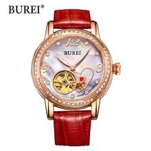 Frauen Mechanische Armbanduhren BUREI Top Fashion Marke Mädchen Uhr Lederarmband Diamant Saphir Wasserdichte armbanduhr Neue Heiße