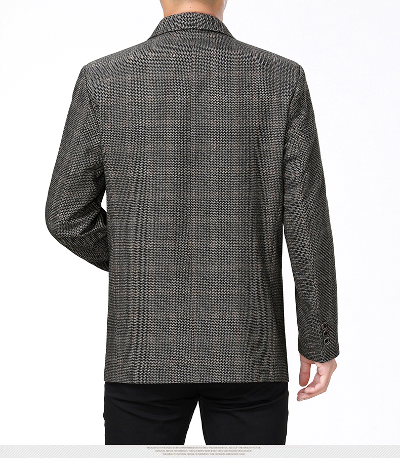 WAEOLSA Mature Men Business Casual Blazers Coffee Gray Texture Suit Coat Man Classical Blazer Hombre Notched Collar Suit Jacket (7)