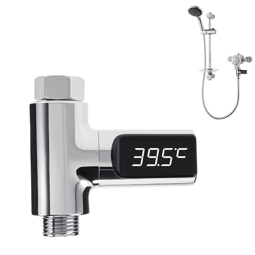 LED Display Home Electric Water Heater Parts Shower Thermometer Flow Self-Generating Water Temperature Meter Monitor Baby Care water thermometer water boiler display instrument water boiler thermometer 20 110 water heater meter