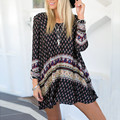 New Fashion 2017 Summer Women Printed Dress Boho Style Loose Long Sleeve Swing Mini Skater Dresses Beach Vestidos Plus Size