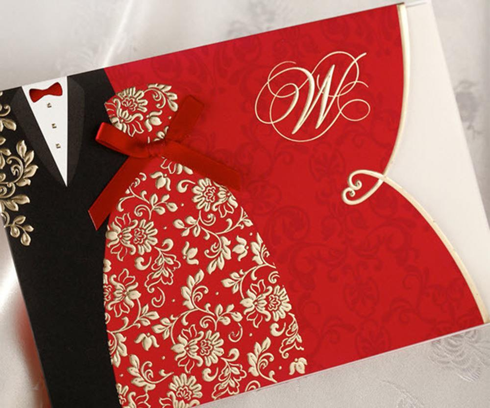 50Pcs/Set Design Gold Floral Red elegant Wedding Invitations Pocket ...