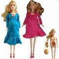 2017 nueva Educación Real trajes de muñeca muñeca mamá embarazada tiene un bebé en su vientre para barbie girls toys mejor regalo