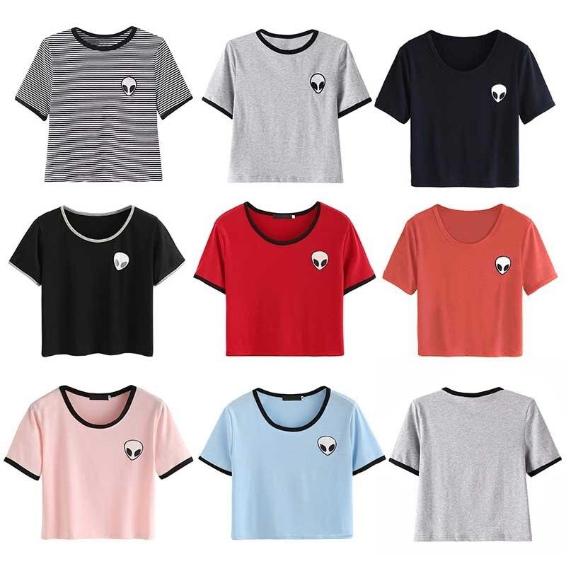 HTB1G71bNFXXXXbIaXXXq6xXFXXXt - Cute Stripe Short Sleeve Cotton Top Tee Alien Embroidery Tshirts