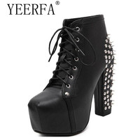 Plus Size Ultra High Heels Shoes Woman Punk Boots Spikes Ankle Boots Rivet Bota Women Lita