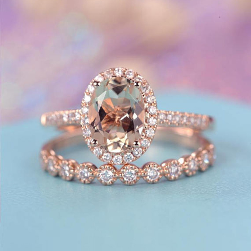 Wedding Engagement Ring CZ Oval Rose Gold Infinity Rings For Women Cubic Zircon Jewelry Fashion Accessories Anillos Mujer F5Q759