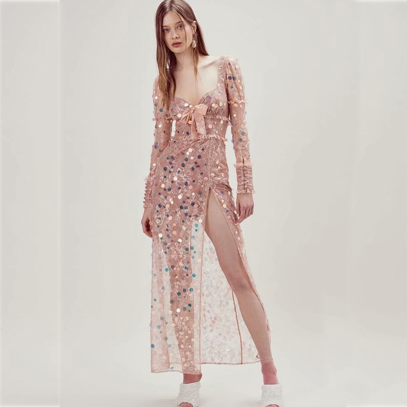 bfafcdcbe42b Sequinedlace Da Estate Nuovo Vestito Maniche Color Scollo Lunghe A V Sera  2019 Sexy Modo Donna Di Abiti Maxi Profondo ...