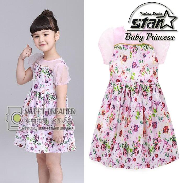 Summer 2016 Hot Sale Girls Dress Patchwork Mesh Princess Baby Dresses Flower Print Birthday Party Costume