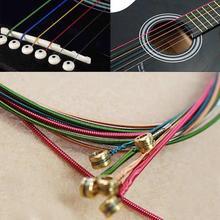 Durable 6 unids / set guitarra acústica caliente cadenas de arco iris cadena de alambre de acero colorido para principiantes guitarra acústica popular clásico