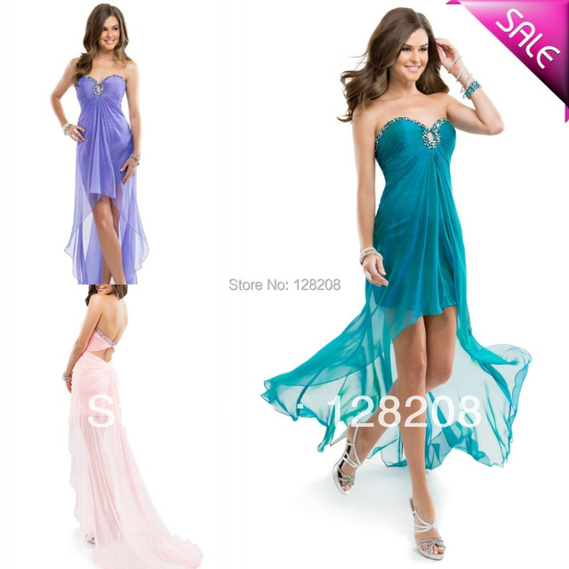 Cheap Strapless Beaded Teal High Low Prom Dress Beach Party Dresses ...