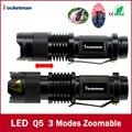 Marca de alta qualidade Mini Preto 2000LM LED Lanterna 3 Modos Zoomable LED Tocha lanterna À Prova D' Água frete grátis