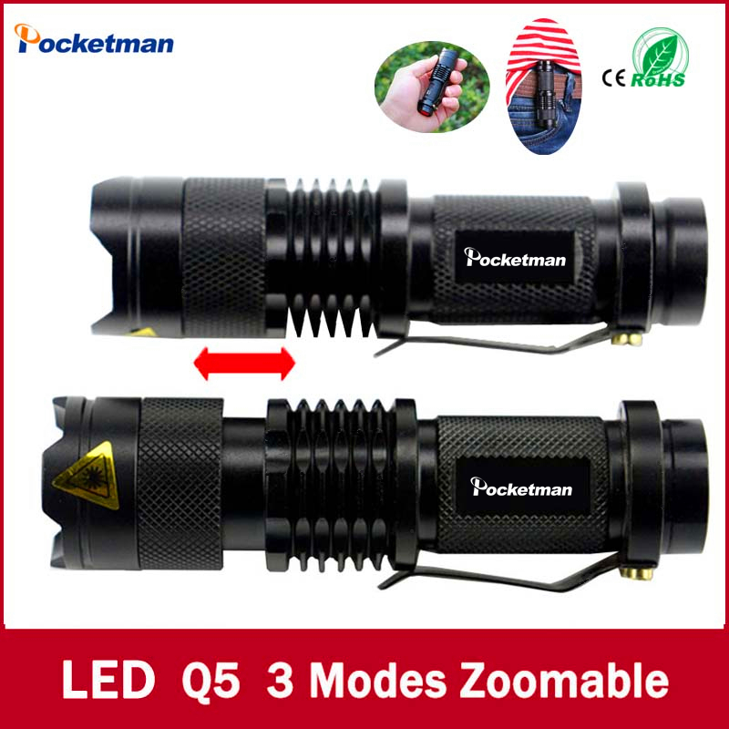 Högkvalitativ Mini Black Brand 2000LM Vattentät LED ficklampa 3 Modes Zoomable LED Torch penlight gratis frakt