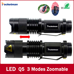 High quality mini black brand 2000lm waterproof led flashlight 3 modes zoomable led torch penlight free.jpg 250x250