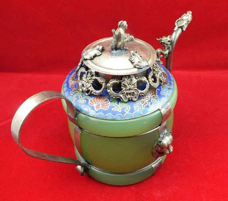 Chinese old Tibetan silver Dragon Lion Green jade Cloisonne teapot Monkey V