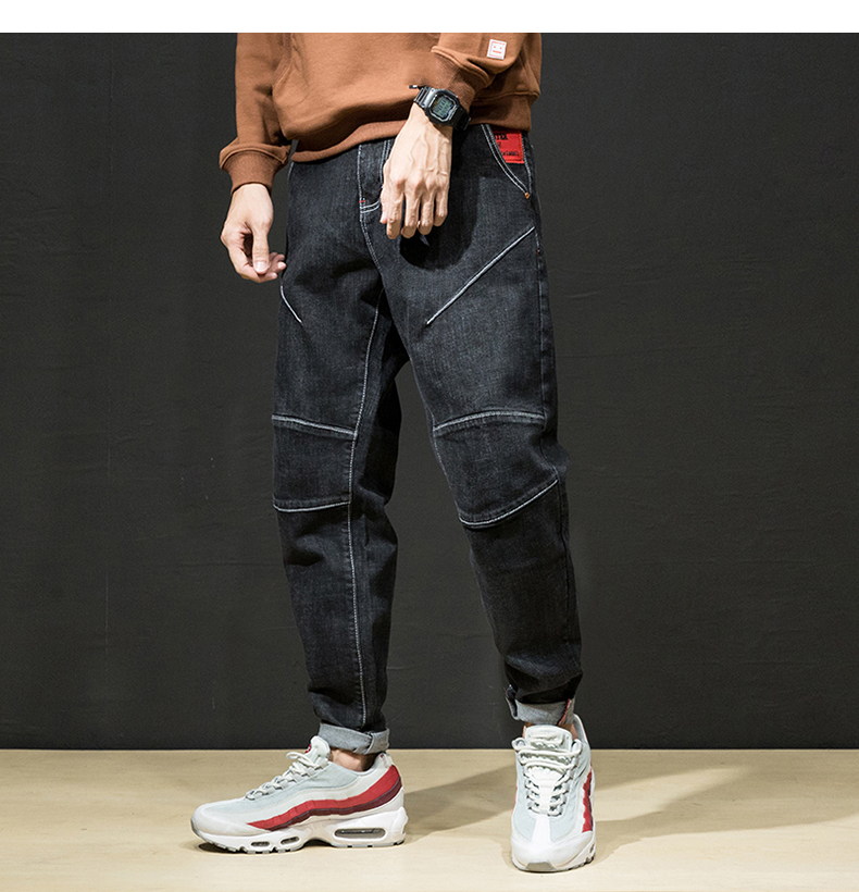 KSTUN Mens Harem Jeans Pants Drop Crotch Solid Black Stretchy Loose Fit Straight Trendy Male Trousers Big Pockets Plus Size 42 14