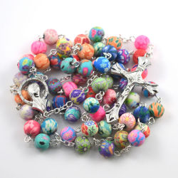2016 fashion polymer clay round bead catholic rosary colorful quality bead.jpg 250x250