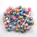 2017 fashion polymer clay round bead catholic rosary colorful quality bead