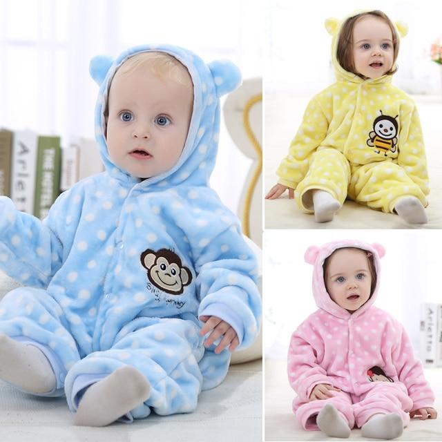 Мода Фланель Детская Одежда Baby Boy Одежда Волновой Точки С Длинным Рукавом Зимний Baby Rompers Младенческой Комбинезон Одежда Ropa Bebe