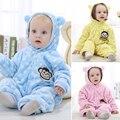 Moda Flanela Roupa Do Bebê Baby Boy Roupas Ponto Onda de Manga Longa Macacão de Bebê Inverno Macacão Infantil Roupas Bebe Ropa