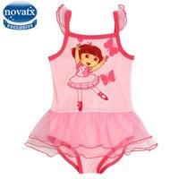 Novatx meisjes mini badpakken lace swimwears rokken een stuk kids cartoon badpakken dress verstoorde strap zwemkleding voor meisjes r4785