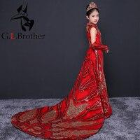 Роскошные Русалка для девочек в цветочек платья для свадьбы блестками Детские Вечерние платья Длинные Trailling девочек Праздничное платье на