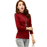 Pop New!2016 Nice Autumn Simple Women Sweater Spring Lotus Leaf Collar Slim Tin Section Bottoming Pullover Jersey Mujer CA99